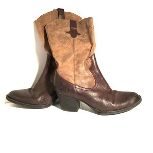 BORN Leather & Suede Western Boots Sonoma